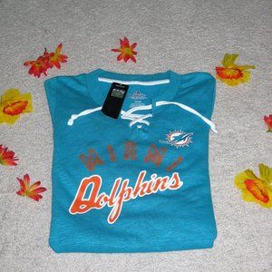 NFL Miami Dolphins Lace Up Soft Poly  Sweater